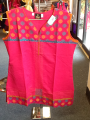 "Pink  Color Short Kurti With Yellow and Gold Self Design  Size XL and Length 28"" VS-8B231"