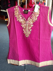 Pink and Beige Short Kurti Size XL Length 24 VS-8B225
