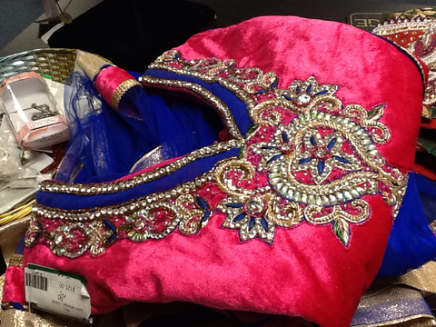 Girl's Pink and Blue Lehenga