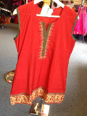 "Red Color Short Kurti With Green And Gold Design  Size XL and Length 28"" VS-4B681"