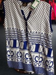 White and Blue Short Kurti Size L Length 24 VS-8B219