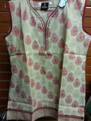 "Beige Color Short Kurti with Red and Gold Color Self Design Size XL and Length 28"" VS-8B177"