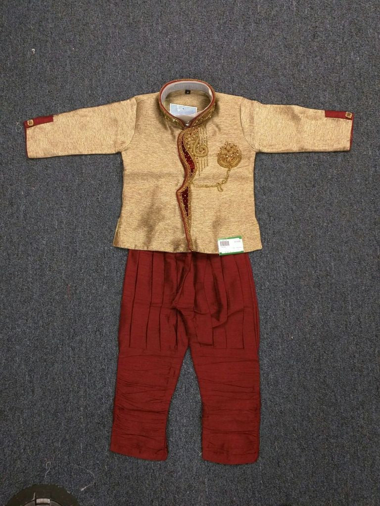 Boy's Gold And Maroon Sherwani