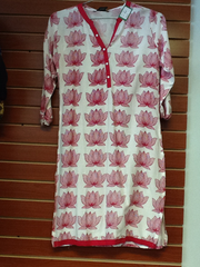 "White and Pink Kurti Length 36"" Size L VS-7B53"