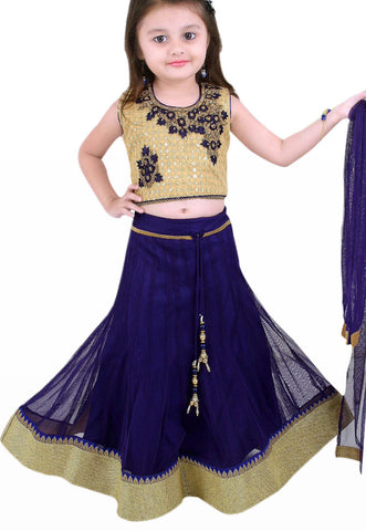 Girl's Navy Blue And Cream Lehenga
