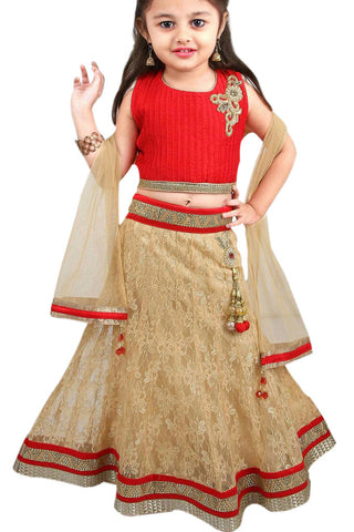 Girl's Gold And Red Lehenga