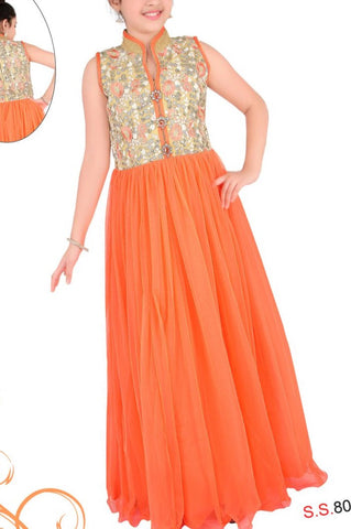 Girl's Orange Long Gown