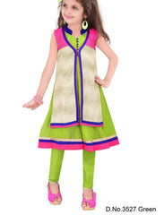 Girl's Green And Blue Salwar Suit