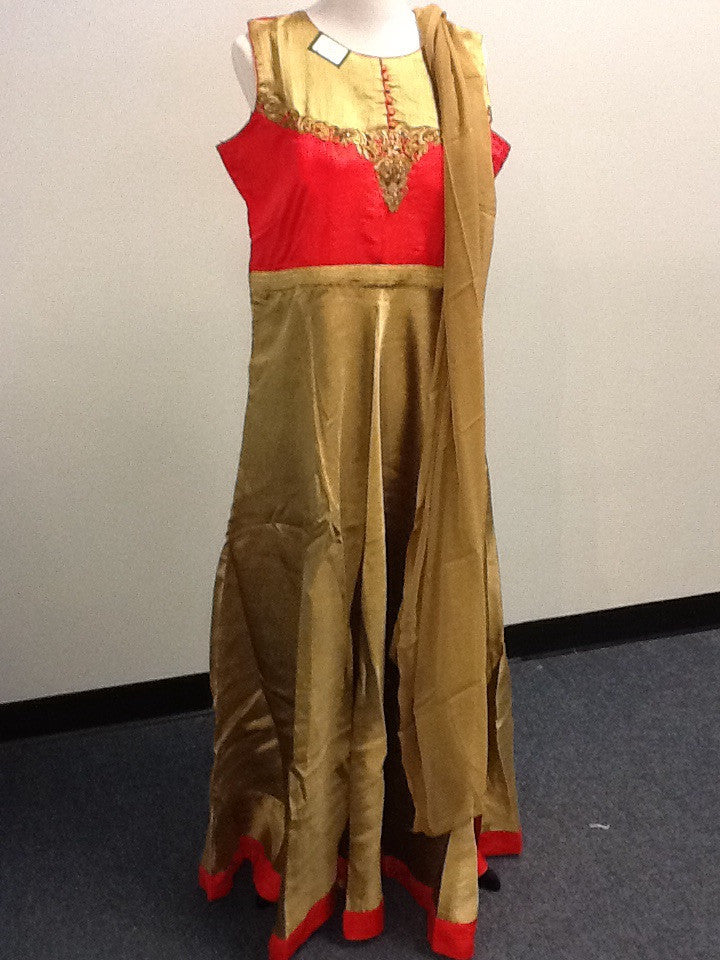 Gold and Red Salwar Suit