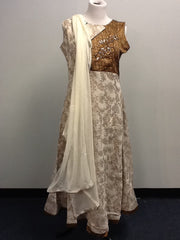 Cream and Gold Salwar Suit