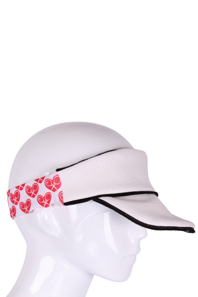 Love Tennis Visor in White - I LOVE MY DOUBLES PARTNER!!!