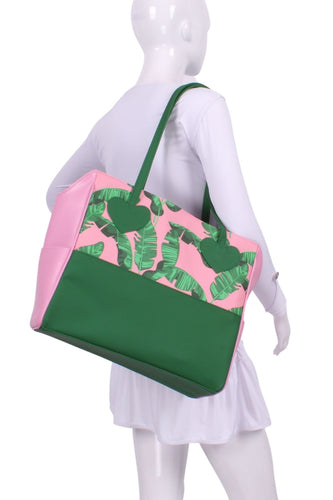 Banana Leaf on Pink + Pink Green Mini LOVE Tote - I LOVE MY DOUBLES PARTNER!!!