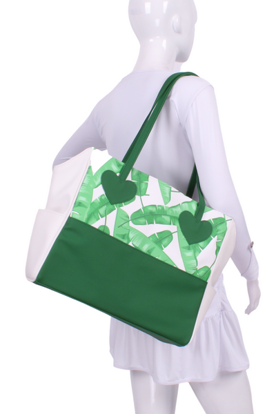 Banana Leaf on White + White Mini LOVE Tote - I LOVE MY DOUBLES PARTNER!!!