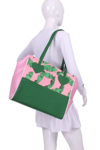 Banana Leaf on Pink + White Green Mini LOVE Tote - I LOVE MY DOUBLES PARTNER!!!