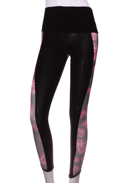 Black Leg Lengthening Leggings with Heart Trim