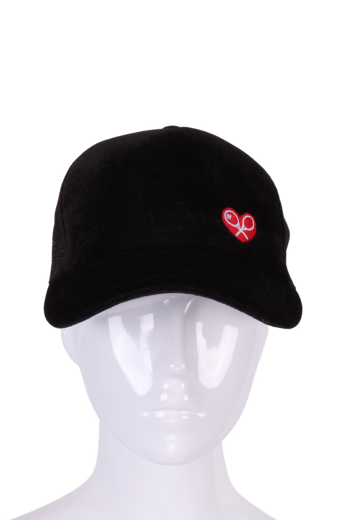 Black Velvet Tennis Hat Mesh Back - I LOVE MY DOUBLES PARTNER!!!