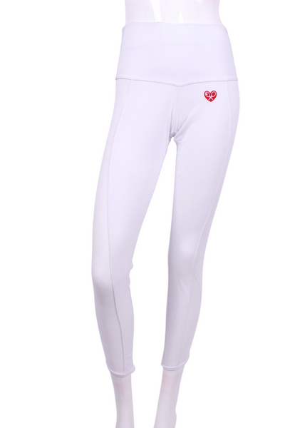 Brushed White with White Mesh Trim Lengthening Leggings - I LOVE MY DOUBLES PARTNER!!!