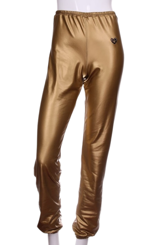 Champagne Gold Baggy Warm Up Pants - I LOVE MY DOUBLES PARTNER!!!