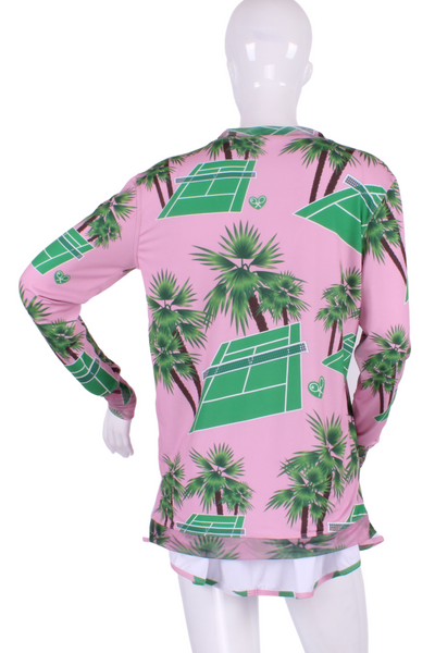 Courts on Pink Palm Long Sleeve Very Vee Tee - I LOVE MY DOUBLES PARTNER!!!