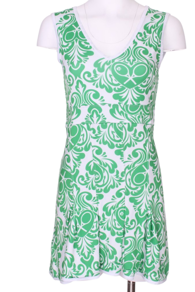 Damask + Green on White Angelina Tennis Dress - I LOVE MY DOUBLES PARTNER!!!