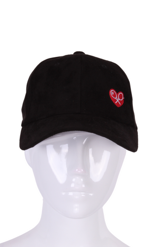 Faux Suede Washable Black Hat - I LOVE MY DOUBLES PARTNER!!!