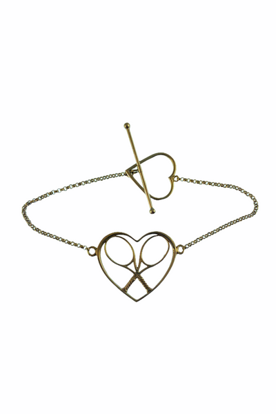 Gold Heart + Rackets Bracelet with Gold Chain - I LOVE MY DOUBLES PARTNER!!!