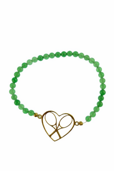 Gold Heart + Rackets Bracelet with Jade Beads - I LOVE MY DOUBLES PARTNER!!!