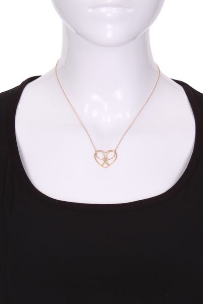 Heart + Rackets Solid Gold Tennis Necklace - I LOVE MY DOUBLES PARTNER!!!