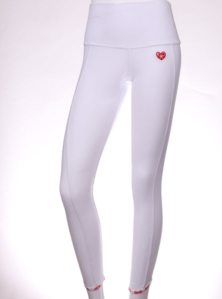 White Leg Lengthening Leggings with White Sides Heart Binding