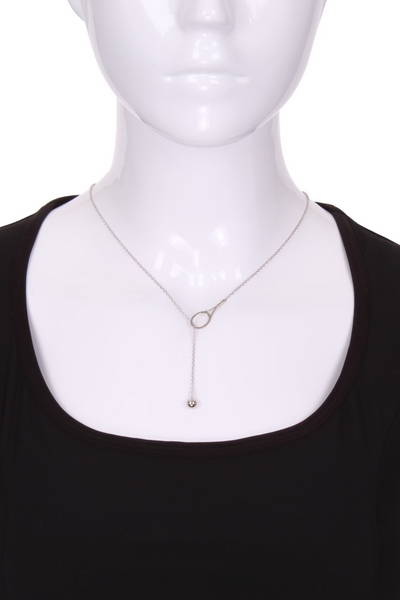 "Lariat 1"" Solid Gold Tennis Necklace - I LOVE MY DOUBLES PARTNER!!!"