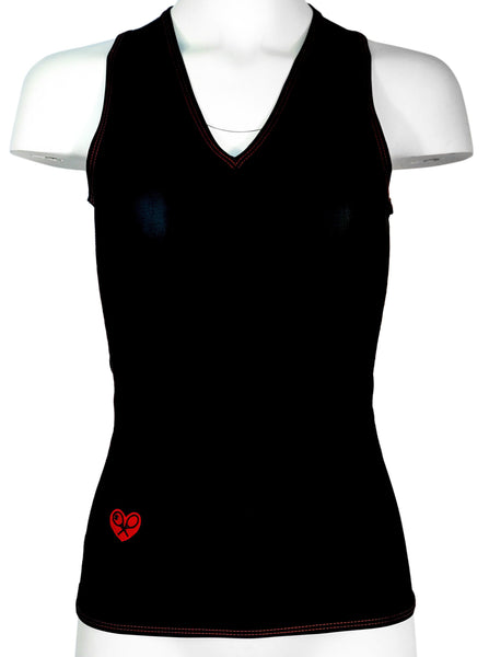 Limited Black Vee Tank with Red Stitching - I LOVE MY DOUBLES PARTNER!!!