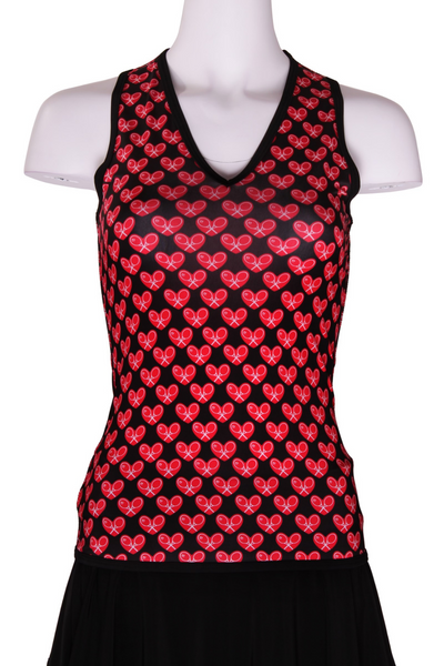 Limited Edition Mini Heart on Black Vee Tank - I LOVE MY DOUBLES PARTNER!!!