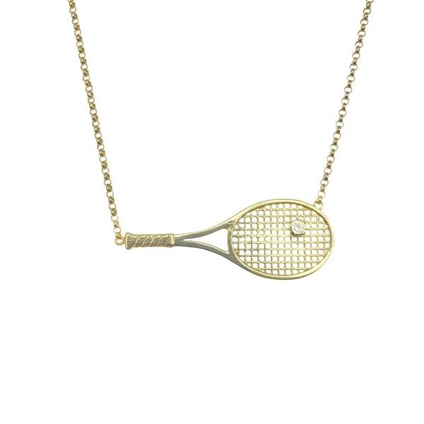 "Luxurious 1.5"" Solid Gold Racket + Diamond Ball - I LOVE MY DOUBLES PARTNER!!!"