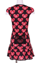 Load image into Gallery viewer, Mid Red Heart on Black Monroe Tennis Dress - I LOVE MY DOUBLES PARTNER!!!