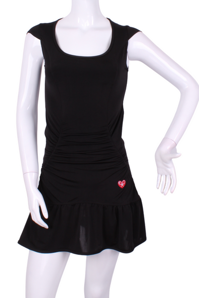 The Black Monroe Tennis Dress With Ruching - I LOVE MY DOUBLES PARTNER!!!
