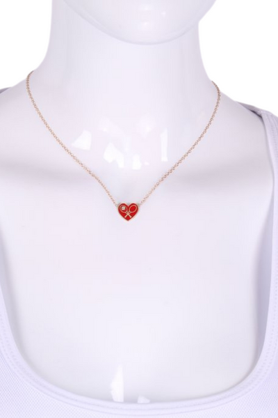 Red Enamel Heart + Diamond Gold Necklace - I LOVE MY DOUBLES PARTNER!!!