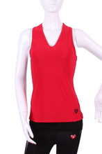 Load image into Gallery viewer, Red Vee Tank with Plain Solid Black Back - I LOVE MY DOUBLES PARTNER!!!
