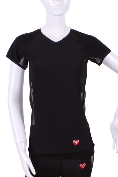 Soft Black Vee Tee - I LOVE MY DOUBLES PARTNER!!!