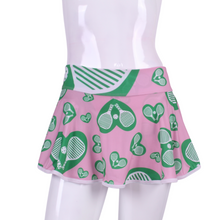 "Load image into Gallery viewer, Spring Green Pickleball on Pink Love ""O"" Skirt - I LOVE MY DOUBLES PARTNER!!!"