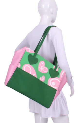 Spring Green & Pink Random Hearts on Green Mini LOVE Tote - I LOVE MY DOUBLES PARTNER!!!