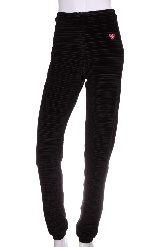 Striped Black Velvet Baggy Warm Up Pants - I LOVE MY DOUBLES PARTNER!!!