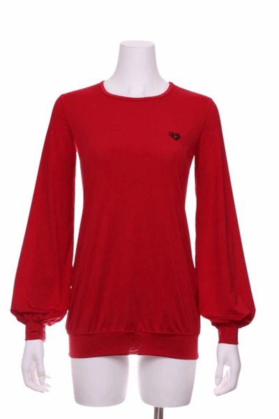 Solid Red Long Sleeve Warm Up Top - I LOVE MY DOUBLES PARTNER!!!