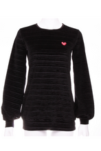 Load image into Gallery viewer, Striped Black Velvet Long Sleeve Warm Up Top - I LOVE MY DOUBLES PARTNER!!!