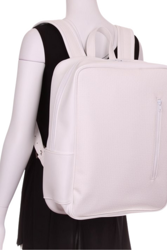 Pure White Silver Buckle LOVE Tennis Backpack - I LOVE MY DOUBLES PARTNER!!!