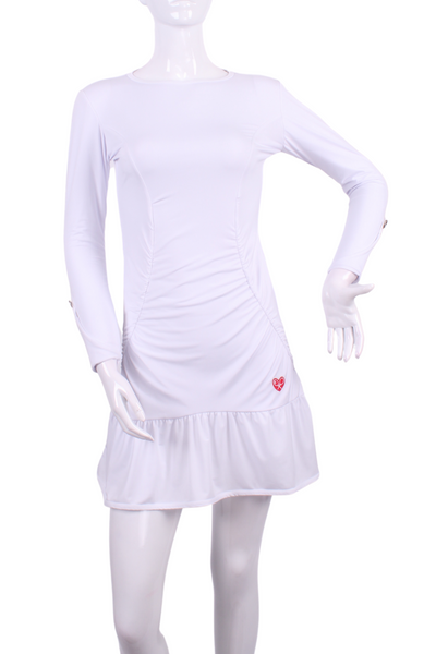 Solid White Long Sleeve Monroe Tennis Dress - I LOVE MY DOUBLES PARTNER!!!