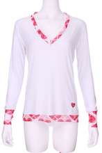 Load image into Gallery viewer, White Long Sleeve Very Vee Tee with Heart Trim - I LOVE MY DOUBLES PARTNER!!!