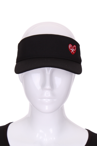 Visor Black or Red or White with Heart + Rackets Logo - I LOVE MY DOUBLES PARTNER!!!