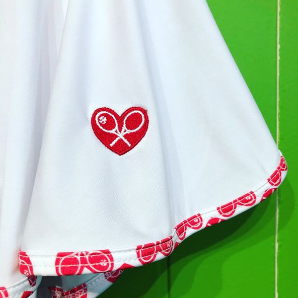 "White Love ""O"" Skirt with White + Red Trim"