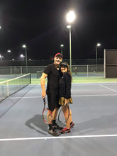"Load image into Gallery viewer, Shiny Gold LOVE ""O"" Tennis Skirt - I LOVE MY DOUBLES PARTNER!!!"