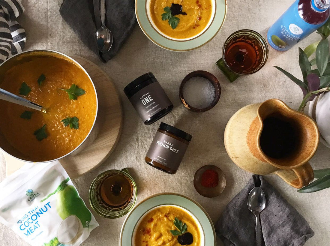 HANAH ONE & COPRA Giveaway + Coconut & Carrot Curried Soup